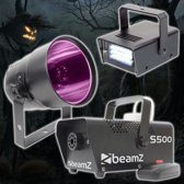 Halloween effect set met rookmachine, stroboscoop en PAR38 blacklight can