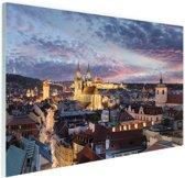 Verlicht Praag Glas 30x20 cm - Foto print op Glas (Plexiglas wanddecoratie)