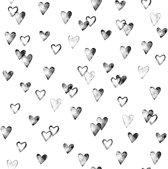 Stapelgoed - Fotobehang - Hartjes - zwart/wit - 900x50cm