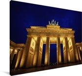 De Europese en verlichte Brandenburger Tor in de nacht Canvas 180x120 cm - Foto print op Canvas schilderij (Wanddecoratie woonkamer / slaapkamer) XXL / Groot formaat!