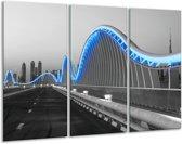 Glas schilderij Brug | Blauw, Grijs | 120x80cm 3Luik | Foto print op Glas |  F007227