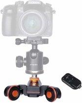 YELANGU L4X camerahand Dolly II elektrische rupsschuiver 3 wielen video katrol rollende dolly auto met afstandsbediening voor DSLR / Home DV-camera's, GoPro, smartphones, maximale belasting: 3kg