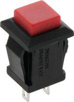 Schakelaar Push-Button 2 Polig - 1-3A 250-125V - Rood Vierkant