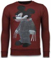 Local Fanatic Bad Mouse - Rhinestone Sweater - Bordeaux - Maten: M