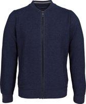 Casa Moda heren vest katoen - marine blauw honingraat structuur (met rits) -  Maat XL