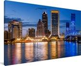 Een blauwe lucht bij de skyline van Jacksonville in Noord-Amerika Canvas 80x40 cm - Foto print op Canvas schilderij (Wanddecoratie woonkamer / slaapkamer)