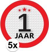 5x 1 Jaar leeftijd stickers rond 9 cm - 1 jaar verjaardag/jubileum versiering