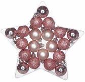 20 stuks kerstballen roze - glitter/ glanzend/ mat - kunststof