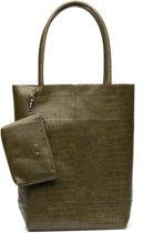 Zebra Trends Natural Bag Kartel Croco Shopper army green