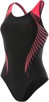 Speedo E10 Fit Laneback  Badpak - Maat 38 Volwassenen - zwart/roze
