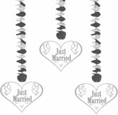 Hangdecoratie Just Married Harten