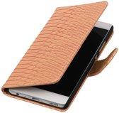 Roze Slang booktype wallet cover hoesje voor Huawei P9 Plus