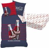 Coca Cola Lines - Dekbedovertrek - Eenpersoons - 140 x 200 cm - Multi - Inclusief hoeslaken