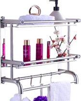 SensaHome Luxe Doucherek Voor In de Badkamer – Zelfklevend met 3 lagen – Geschikt voor Muur/Wand Bevestiging – Roestvrij – Ophangen Zonder te Boren