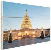 Capitool verlicht Washington DC Hout 120x80 cm - Foto print op Hout (Wanddecoratie)