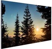 FotoCadeau.nl - Zonsopkomst nationaal bos Aluminium 90x60 cm - Foto print op Aluminium (metaal wanddecoratie)