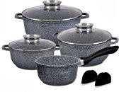 EDËNBËRG Pannenset - 9 delig - Marmeren Coating - Graniet Design - EB-8010 - met 2 mini pannenlapjes en aroma dop