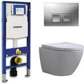 Geberit Up 100 Toiletset – Inbouw WC Hangtoilet Wandcloset - Shorty Delta 50 Mat Chroom