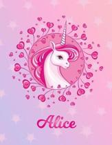 Alice: Unicorn Sheet Music Note Manuscript Notebook Paper - Magical Horse Personalized Letter S Initial Custom First Name Cov