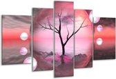 Glasschilderij Boom | Paars, Grijs | 170x100cm 5Luik | Foto print op Glas |  F005905