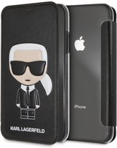 Karl Lagerfeld Book Case Zwart - Cool Karl - TPU - iPhone XR  - Achterkant Transparant