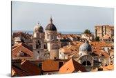 Uitzicht vanaf de stadsmuren Dubrovnik Aluminium 90x60 cm - Foto print op Aluminium (metaal wanddecoratie)