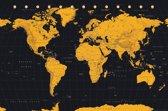 Wereldkaart-goudkleur-Poster-61x91.5cm.
