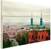 Uitzicht over Praag Hout 80x60 cm - Foto print op Hout (Wanddecoratie)