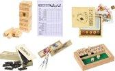 Classic Spellenset Houten spellen - Mikado - Domino spel - Yahtzee - Shut the Box mini - Houten dobbelstenen + Speelkaarten - Vallende Toren (Jenga mini)