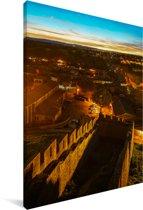 Luchtfoto van de middeleeuwse vestingstad in Frankrijk Canvas 80x120 cm - Foto print op Canvas schilderij (Wanddecoratie woonkamer / slaapkamer)