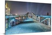 Nachtfoto van de brug in Frankfurt am Main Aluminium 180x120 cm - Foto print op Aluminium (metaal wanddecoratie) XXL / Groot formaat!