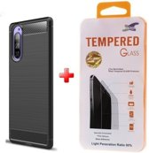Silicone gel zwart hoesje Sony Xperia 5 met glas screenprotector