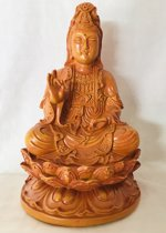 Kwan yin beeld wood look 16x25x14cm Kwan Yin, ook wel Quan Yin Guanyin of Kannon boeddha
