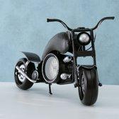 Klok - Motor - model - Metaal - 59cm - Zwart - mannen cadeau