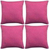 vidaXL Kussenhoezen 4 stuks linnen look roze 40x40 cm
