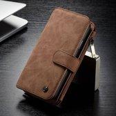 14 vaks 2 in 1 bruine wallet hoesje iPhone X  echt Split leer