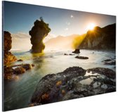 Zonsopgang strand Nieuw-Zeeland Aluminium 120x80 cm - Foto print op Aluminium (metaal wanddecoratie)