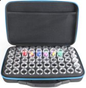 Diamond Painting steentjes sorteer en Opbergdoos met 60 afsluitbare potjes blauwe rits