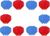 Dragon darts - 10 sets (30 stuks) - XS100 Poly flights - duo kleur pakket - Aqua en Rood  – dart flights - darts flights