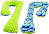 Voedingskussen / Zwangerschapskussens | C-vorm 240 cm | Groen en gekleurde strepen