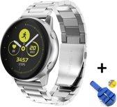 Metalen Armband Voor Samsung Galaxy Watch Active / 42mm Smartwatch - Horloge Band Strap - Schakel Polsband Strap RVS - Zilver Kleurig