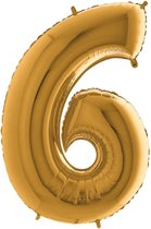 Folieballon cijfer 6 goud (100cm)