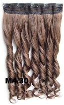 Clip in hair extensions 1 baan wavy bruin / rood - M4/30