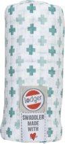 Lodger hydrofiele doek Swaddle Scandinavian print mintgroen/licht mintgroen