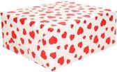 Inpakpapier/cadeaupapier wit met rode hartjes 200 x 70 cm op rol - Kadopapier/geschenkpapier