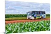 Een bus in een landelijk gebied Aluminium 30x20 cm - klein - Foto print op Aluminium (metaal wanddecoratie)