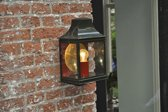 koperen lantaarn DE NOOD® model Gorssel, in groen en rood gelakt met messing gepolijste achterspiegel