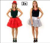 2x Petticoat 3-laags volwassenen rood en zilver