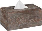 relaxdays tissuehouder shabby - tissue box hout - zakdoekendoos - rechthoek - bruin