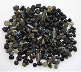 200g Glasparels Mix van zwarte kleuren